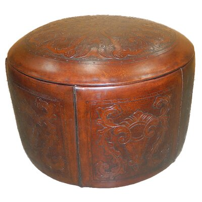 Colonial Leather Pouf Upholstery: Antique Brown