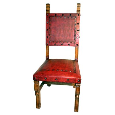 Colonial Spanish Heritage Leather Side Chair (Set of 4) Upholstery: Red