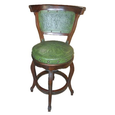 Spanish Swivel Bar Stool (Set of 4) Upholstery: Green