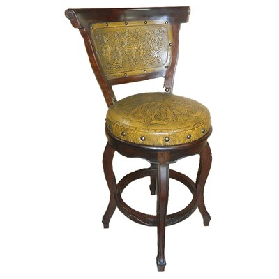 Spanish Swivel Bar Stool (Set of 4) Upholstery: Mustard