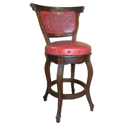 Spanish Swivel Bar Stool (Set of 4) Upholstery: Red