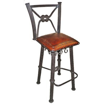 Chaucer Traditional 30 Metal Bar Stool with Leather Seat (Set of 2)