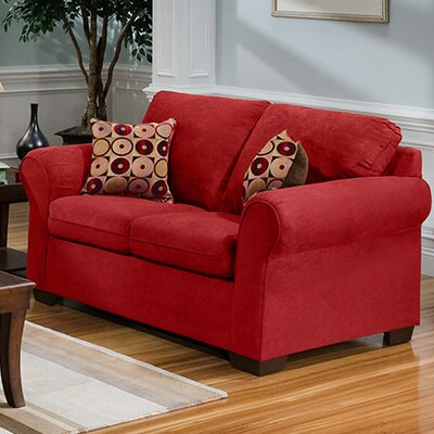 Loveseat Upholstery: Aqua Red