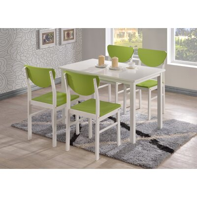 Alesha Wood Leg Dining Table Color: White