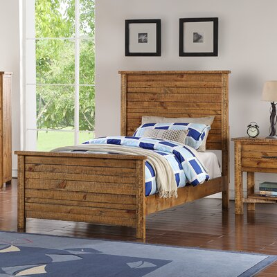 Hubert Panel Bed Size: Twin, Bed Frame Color: Light Brown