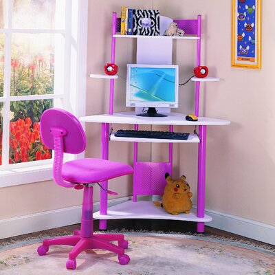 "InRoom Designs 39"" W Computer Desk with Keyboard Tray - Finish: Pink at Sears.com"