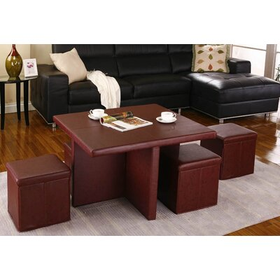 InRoom Designs Coffee Table with 4 Ottomans at Sears.com
