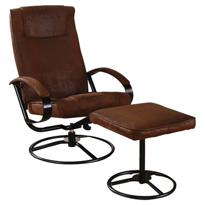 InRoom Designs Reclining Chair and Ottoman - Color: Rustic Brown