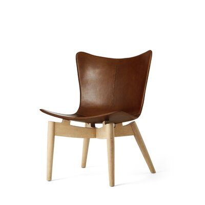 Shell Lounge Chair Color: Brown Saddle, Finish: Sirka Grey Oak