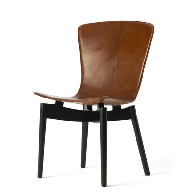 Shell Genuine Leather Upholstered Dining Chair Upholstery: Brown Saddle, Finish: Dark Oak