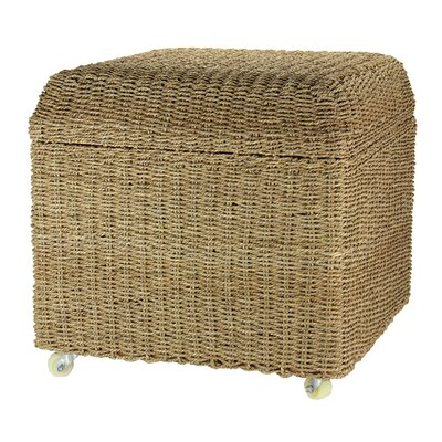 Rolling Seagrass Wicker Storage Seat Ottoman