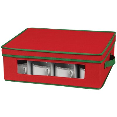 Household Essentials Storage and Organization Holiday Cup Chest with Green Trim in Red at Sears.com