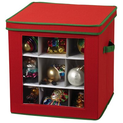 Household Essentials Storage and Organization 27 Piece Holiday Ornament Chest 552RED