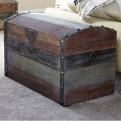 Large Weathered Wooden Storage Trunk 9507-1