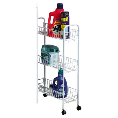 Slimline 3 Shelf Laundry Cart Color: White
