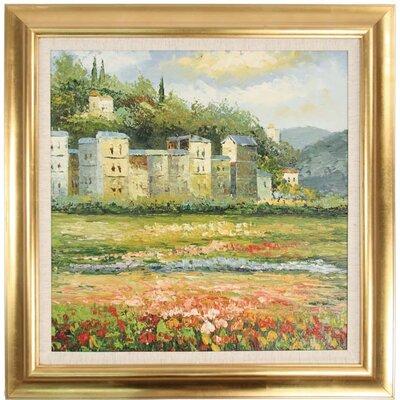 'Poppies and Village' Framed Painting Print TSA-010