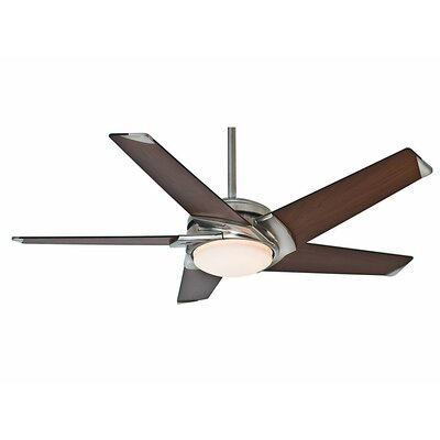 54 Stealth 5 Blade LED Ceiling Fan Finish: Brushed Nickel with Dark Walnut Blades