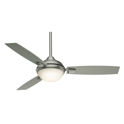 54 Verse 3-Blade Ceiling Fan with Remote Finish: Satin Nickel with Platinum / Black Mahogany Blades