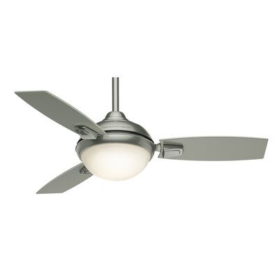 44 Verse 3-Blade Ceiling Fan with Remote Finish: Satin Nickel with Platinum / Black Mahogany Blades