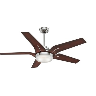 56 Correne 5 Blade LED Ceiling Fan with Remote Finish: Brushed Nickel with Coffee Beech Blades