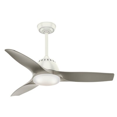 44 Wisp 3 Blade LED Ceiling Fan with Remote Finish: Fresh White with Pewter Blades