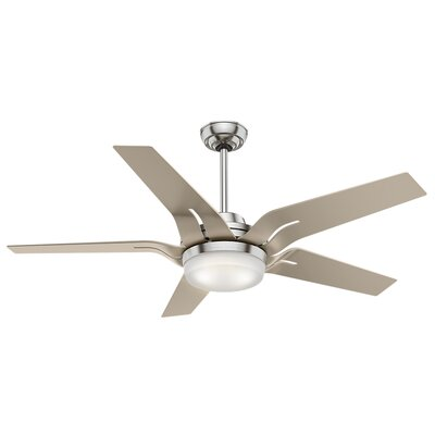 56 Correne 5 Blade LED Ceiling Fan with Remote Finish: Brushed Nickel with Champagne Blades