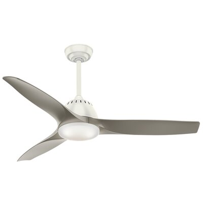 52 Wisp 3 Blade LED Ceiling Fan with Remote Finish: Fresh White with Pewter Blades