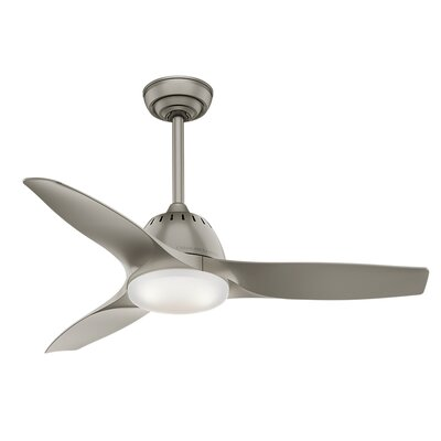 44 Wisp 3-Blade Ceiling Fan with Remote Finish: Pewter
