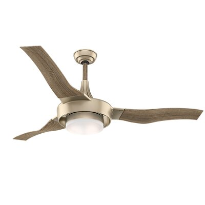 64 Perseus 3 Blade LED Ceiling Fan Finish: Metallic SunSand with Drift Oak Blades