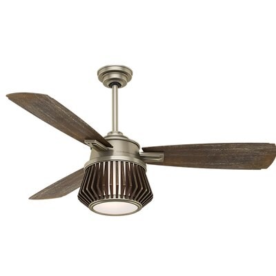 56 Glen Arbor 3 Blade LED Ceiling Fan with Remote Finish: Metallic Birch with Weathered Gray Blades