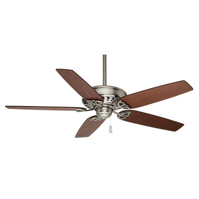 54 Concentra 5-Blade Ceiling Fan with Pull Chain Receiver Finish: Brushed Nickel �with Walnut/ Burnt Walnut Blades