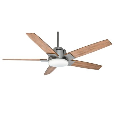 56 Zudio 5-Blade Ceiling Fan Finish: Brushed Nickel with White Distressed Oak Blade
