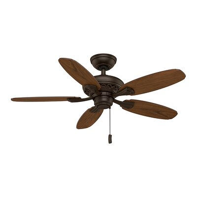 44 Fordham 5-Blade Ceiling Fan Finish: Brushed Cocoa with Distressed/Dark Walnut Blades