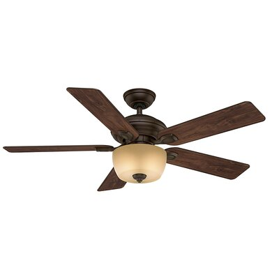 52 Utopian Gallery 5-Blade Ceiling Fan with Remote Motor and Blade Motor and Blade Finish: Brushed Cocoa with Antique Halifax Blades