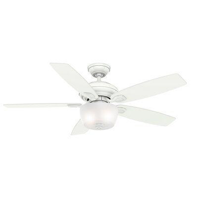 52 Utopian Gallery 5-Blade Ceiling Fan with Remote Finish: Snow White