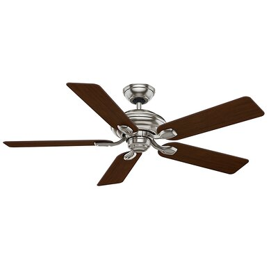 52 Utopian Gallery 5-Blade Ceiling Fan with Remote Motor and Blade Motor and Blade Finish: Brushed Nickel with Burnt Walnut Blades