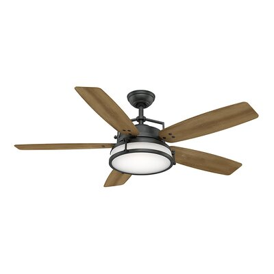 56 Caneel Bay 5-Blade Ceiling Fan Finish: Aged Steel with White Distressed Oak Blades