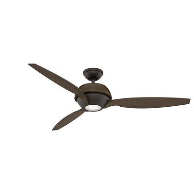 60 Riello 3-Blade Ceiling Fan Finish: Maiden Bronze with Walnut Blades