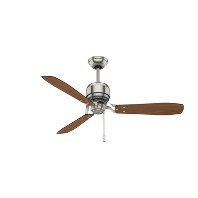 52 Tribeca 3-Blade Ceiling Fan Finish: Brushed Nickel with Walnut/Burnt Walnut Blades