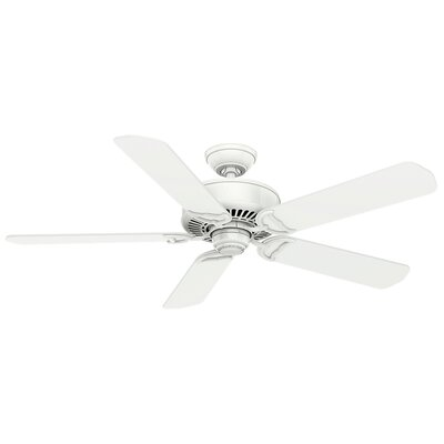 54 Panama 5-Blade Ceiling Fan with Remote Finish: Snow White with Matte Snow White Blades
