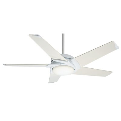 54 Stealth DC 5-Blade Ceiling Fan with Remote Finish: Snow White