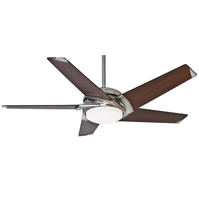54 Stealth DC 5-Blade Ceiling Fan with Remote Finish: Brushed Nickel with Espresso Blades