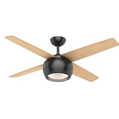 54 Valby 4 Blade Ceiling Fan Finish: Matte Black with Walnut Blades
