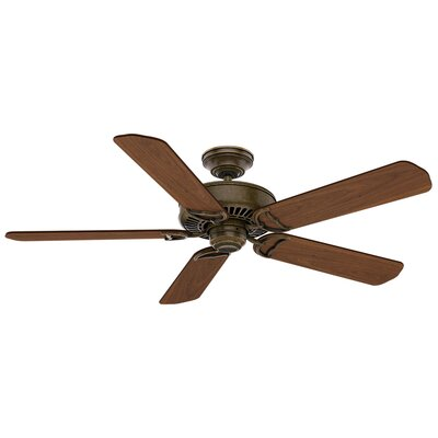 54 Panama 5 Blade Ceiling Fan Finish: Aged Bronze with Walnut Blades
