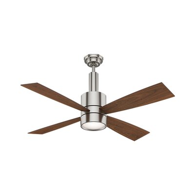 54 Bullet 4 Blade Ceiling Fan Finish: Brushed Nickel with Walnut Blades