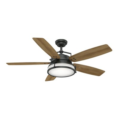 56 Caneel Bay 5 Blade Outdoor Ceiling Fan Finish: White Washed Oak with Aged Steel Blades