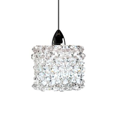 Haven Quick Connect 1-Light Pendant Finish: Brushed Nickel, Shade Color: White Diamond (Clear), Size: 3 H x 3 W x 8 D