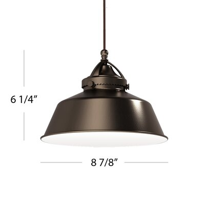 Wyandotte 8.9 Metal Bowl Pendant Shade Shade Color: Antique Bronze
