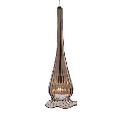 Lucia Monopoint 1-Light Pendant Finish: Brushed Nickel, Shade Color: Bronze Iride with Gold Trim