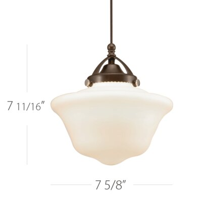 Milford 1-Light Schoolhouse Pendant Finish: Brushed Nickel